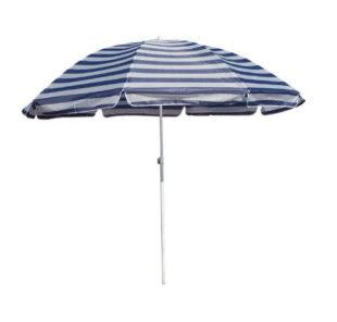 Modro-bílý pruhovaný plážový slunečník