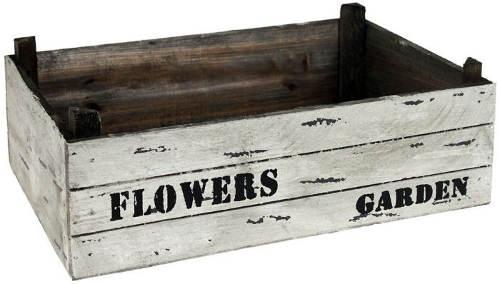 Dřevěný truhlík na květiny s patinou