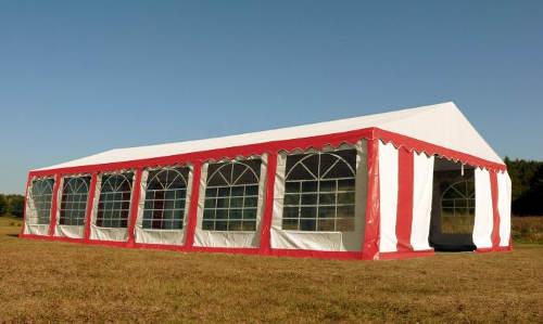 Červeno-bílý párty stan 4x8 m