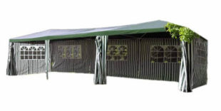 Levný zelenobílý zahradní stan 3x9 m