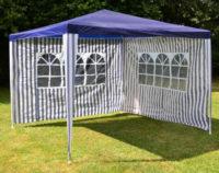 Modrý zahradní párty stan 3x3 m s bočními stěnami