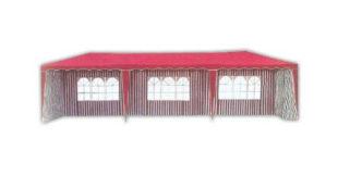 Velký červenobílý zahradní párty stan