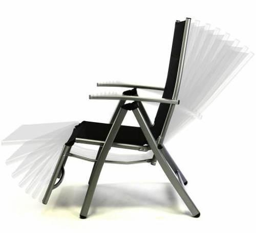 Černá zahradní židle rozložitelná na lehátko