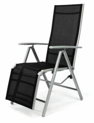 Hliníkové skládací křeslo - černé relaxační lehátko