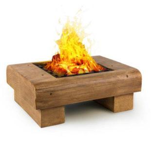 Venkovní ohniště s grilem dřevěného vzhledu