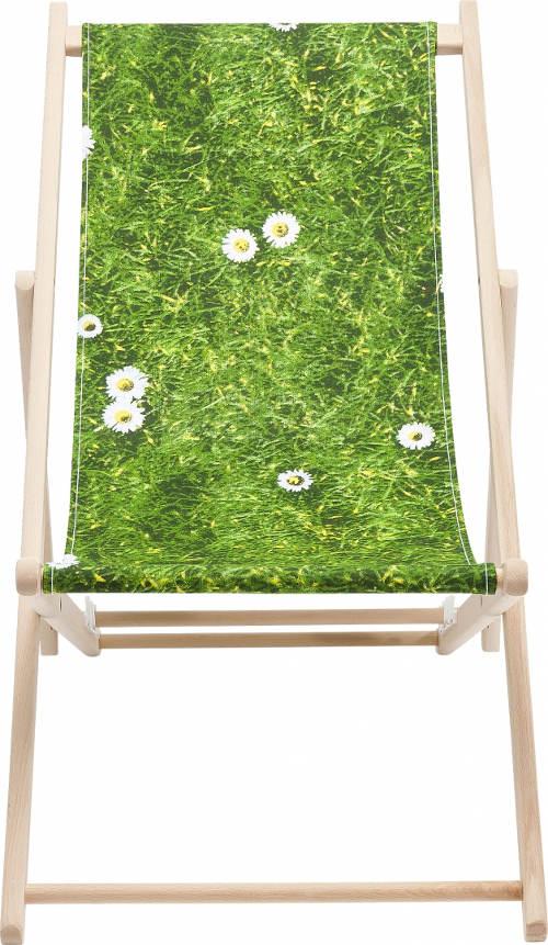 Zahradní lehátko s motivem rozkvetlé louky