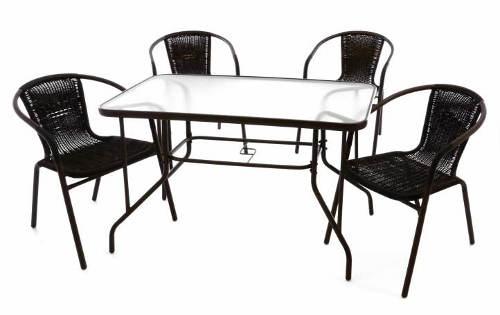 5-dílná bistro sestava - skleněný stůl a 4 ks polyratanových židlí