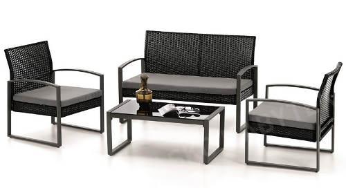 Černý zahradní nábytková set umělý ratan