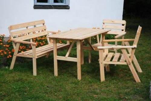 Dřevěný zahradní set stůl, lavice a dvě křesla