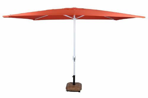 Obdelníkový slunečník na terasu oranžové barvy