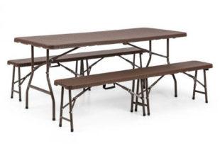 Skládací stůl a lavičky na grilování
