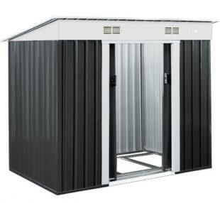 Černý plechový zahradní domek 196x122 cm