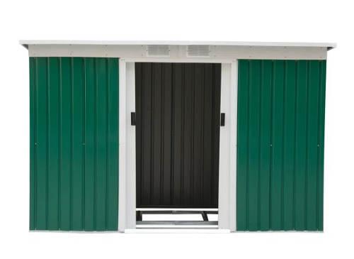 Plechový zahradní domek s šikmou pultovou střechou