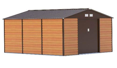 Velký hnědý plechový zahradní domek 340 x 382 cm