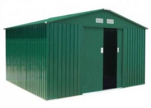 Velký zelený plechový zahradní domek 311 x 291 cm
