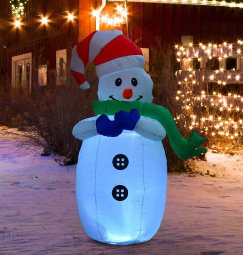 Nafukovací svítící sněhulák na zahradu