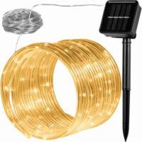 Zahradní solární světelná hadice - 100 LED teple bílá