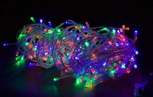 Barevný venkovní vánoční světelný řetěz 5m