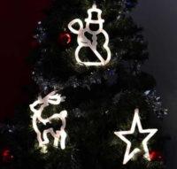 Vánoční dekorace na okno - svítící hvězda, sněhulák, sob