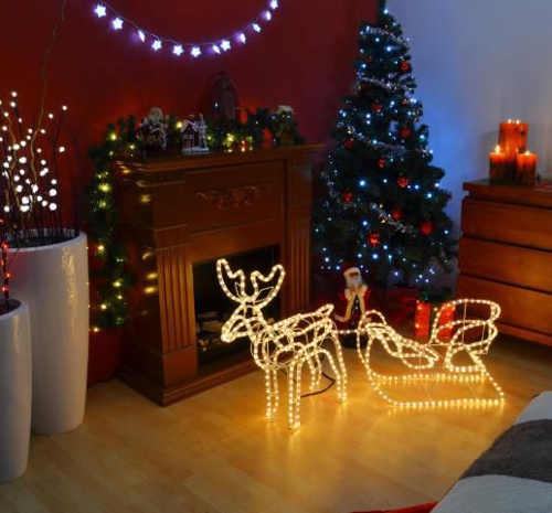 Vánoční figurka svítící sob  včetně saní