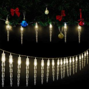 Vánoční LED řetěz 30 rampouchů 5,9 m teplá bílá