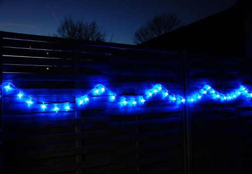 Vánoční ozdoba plotu svítící LED hvězdičky