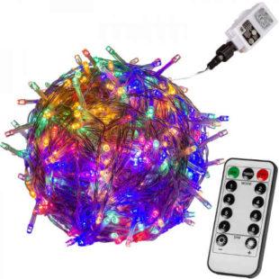 Barevný svítící vánoční LED řetěz s dálkovým ovladačem 20 m
