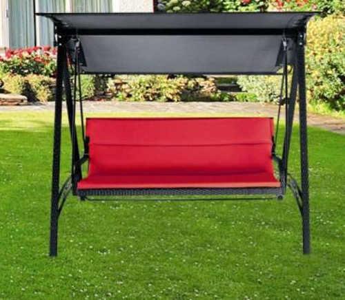 Ratanová zahradní houpací lavice pro 3 osoby
