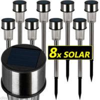 Levná sada solárních nerezových sloupkových LED lampiček
