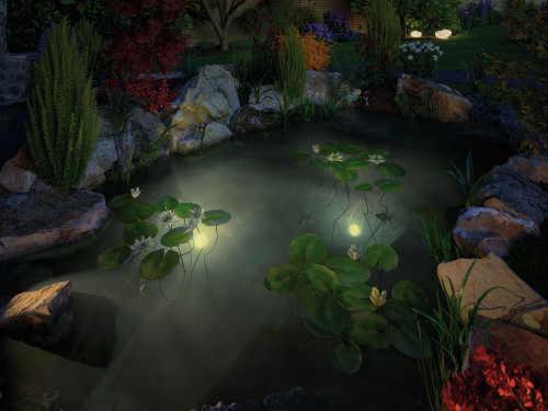 Noční LED osvětlení zahradního jezírka