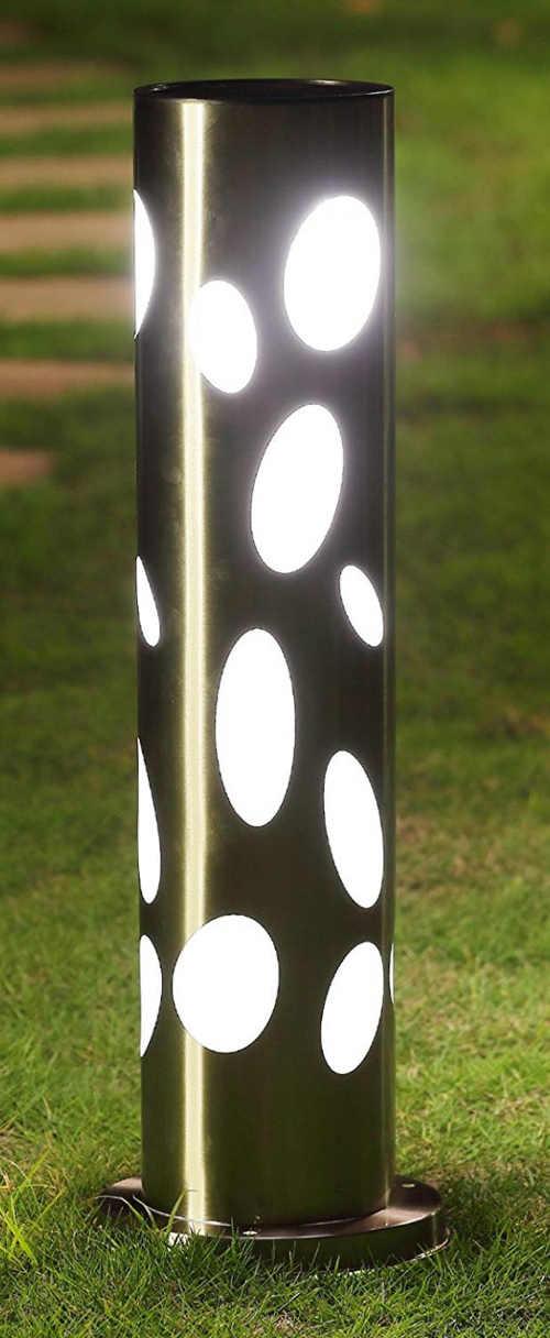 Ozdobná zahradní solární lampa střibrný válec