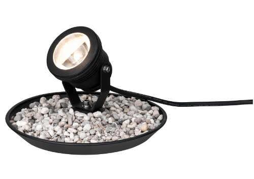 Podvodní zahradní osvětlení  s miskou na zasypání kamínky