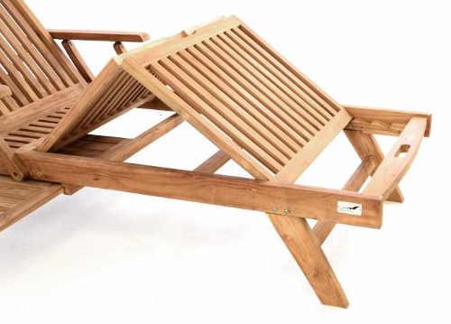 Dřevěné zahradní lehátko s polohovatelnou podnožkou
