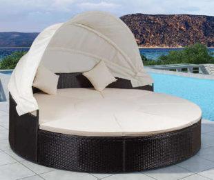 Kruhové zahradní lehátko se stříškou - postel pro dva Tobago