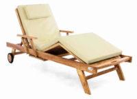 Luxusní dřevěné polohovatelné zahradní lehátko s polstrováním