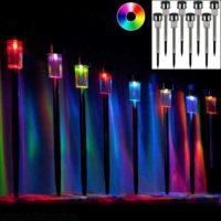 Sada 8 sloupkových solárních nerezových LED lamp multicolor