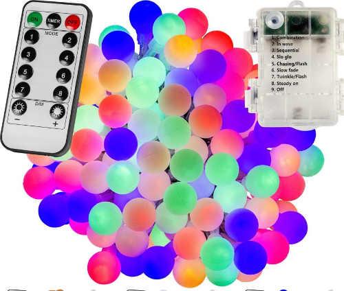 Venkovní barevný LED řetěz s dálkovým ovladačem