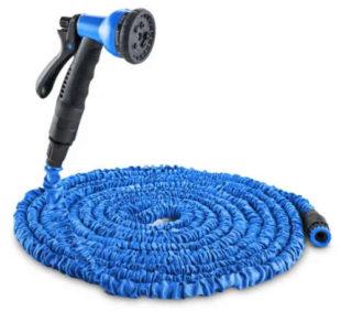 Modrá smršťovací zahradní hadice s multifunkční sprchou