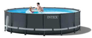 Luxusní černý kruhový zahradní bazén Intex Ultra XTR Frame 4,88 x 1,22 m