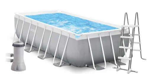 Obdélníkový zahradní nadzemní bazén včetně schůdků a filtrace