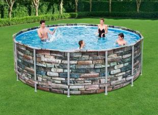 Originální bazén na zahradu Bestway Stone 4,27 x 1,22m zdi kamenný vzhled