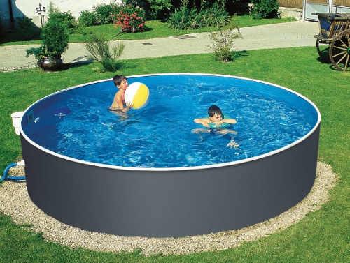 Šedý ocelový zahradní bazén kruhového tvaru