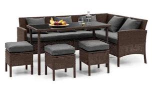Hnědý polyratanový rohový gauč s 3 stolky a jídelním stolem