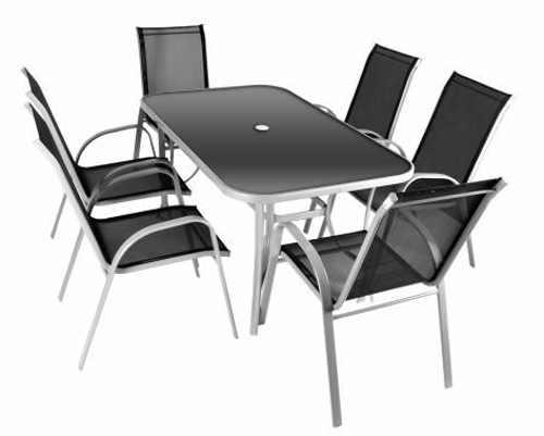 Kovový zahraní set se šesti stohovatelnými židlemi