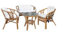 Sestava zahradního nábytku MANAU pohovka, křesla a stůl přírodního ratanu