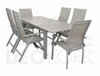 Hliníková sestava zahradního nábytku BIANCA se šesti židlemi