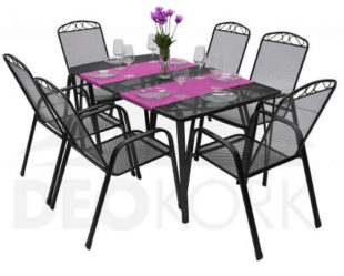 Kovový set zahradního nábytku se 6 židlemi levně