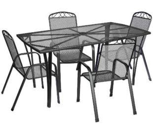 Sada kovového zahradního nábytku s velkým obdélníkovým stolem