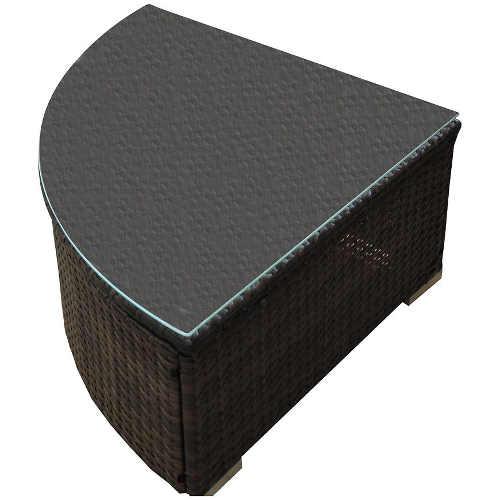 Zahradní stolík z umělého ratanu se skleněnou desku k rohové sedací soupravě