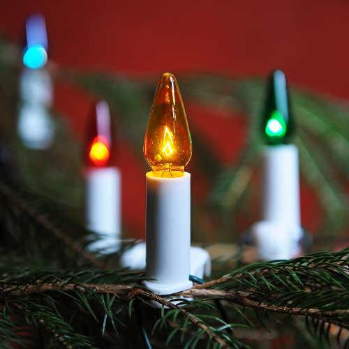 Barevný svítící řetěz na vánoční stromek klasické žárovky